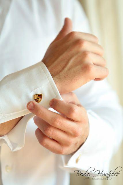 ¿Qué te parecen estas elegantes mancuernillas para tu boda en playa? Bodas Huatulco