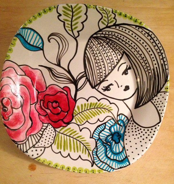 February 25. Porcelain paint on ceramic plate. Again.