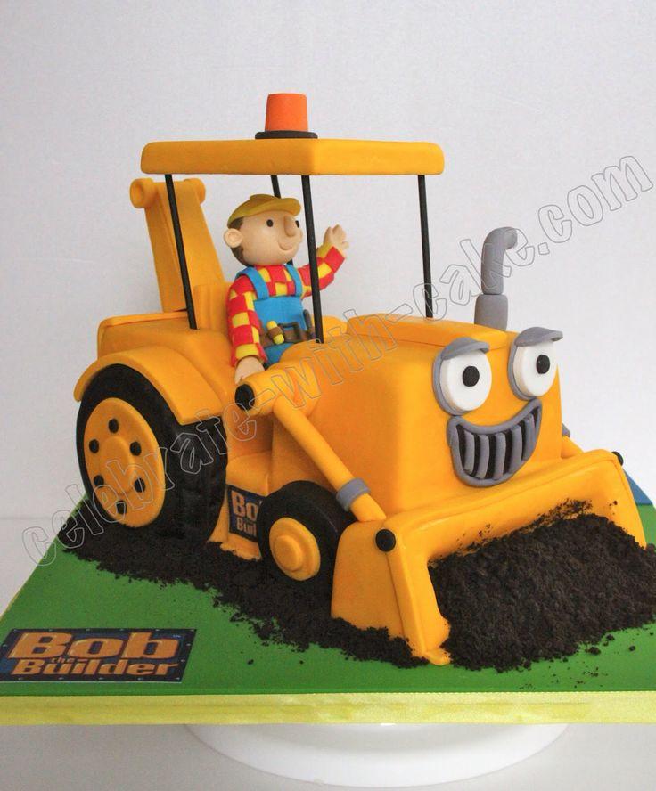 Pin by Rebecca Julia on Car,truck, train, bus shaped cake | Bob the builder cake, Digger cake
