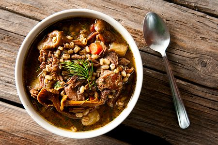 Snow Goose Stew with Barley & Mushrooms. Another recipe from Hank Shaw, a master in game meat.
