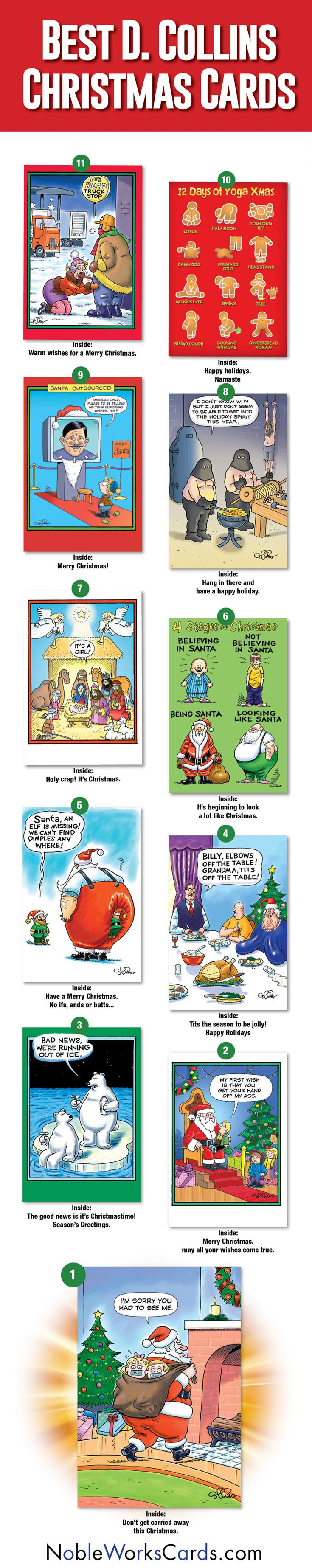Top 10 Dan Collins Christmas Cards! Make your Holiday Cards funny this year! #humor #funny #top10 #art