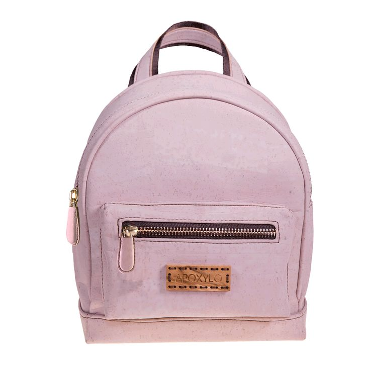 Mini Backpack in Pink Cork Adjustable shoulder straps Handcrafted Solid Olive Wood logo Water resistant Lined interior External pocket closes with zipper Internal pocket with zipper Internal slip pocket Comes with dustbag