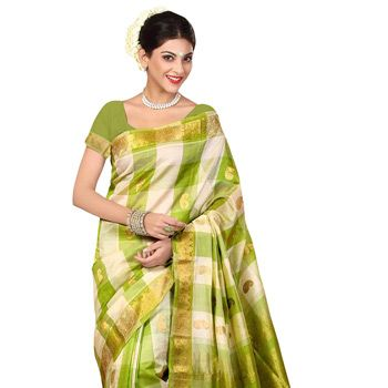 Off White and Neon Green Pure Uppada Silk Saree with Blouse