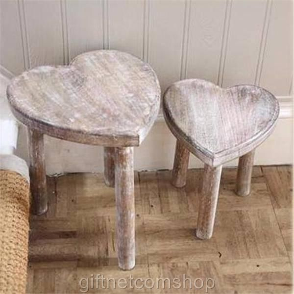 New Two Wooden Heart Stools Shabby Chic Style Heart Nest Of Side Tables