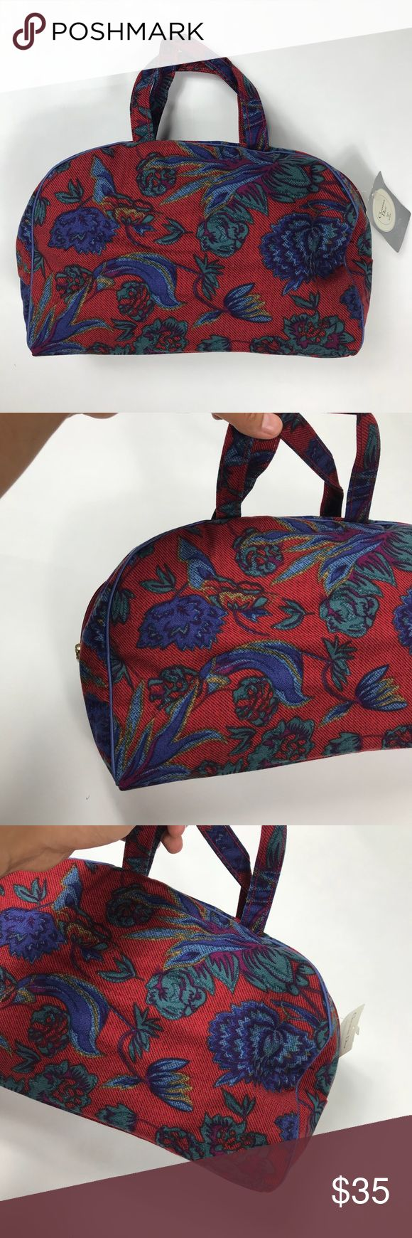 Christian Dior Floral Red Cosmetic Makeup Bag NWT (With