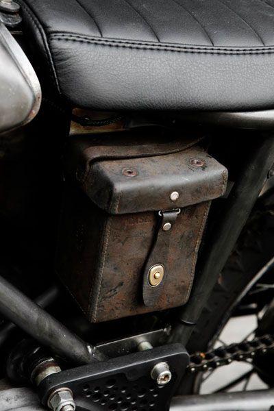 Norton Commando   Wrenchmonkees -leather details.