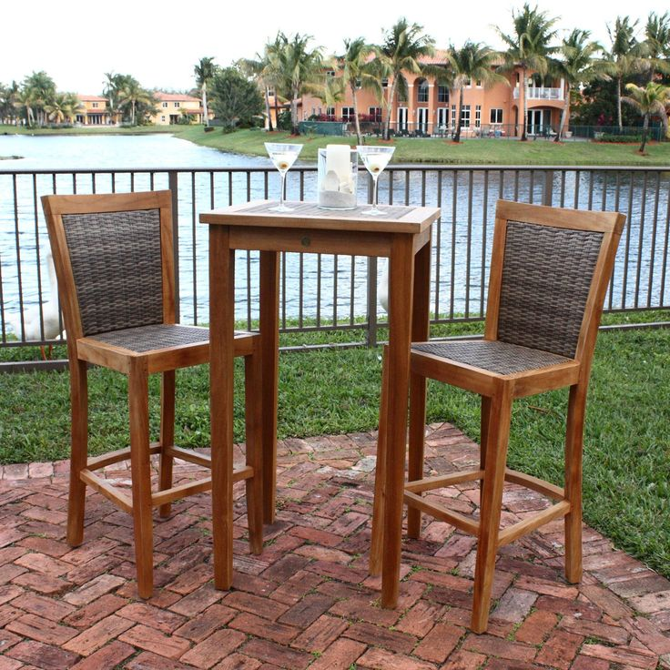 Panama Jack Leeward Islands 3 Piece Bar Height Pub Table Set