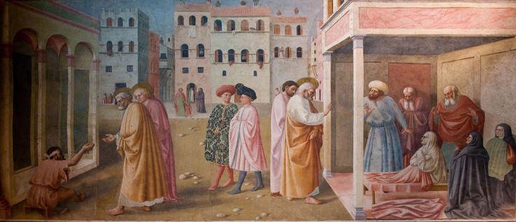 Masolino 'Healing of the Cripple and the Raising of Tabitha' Brancci chapel