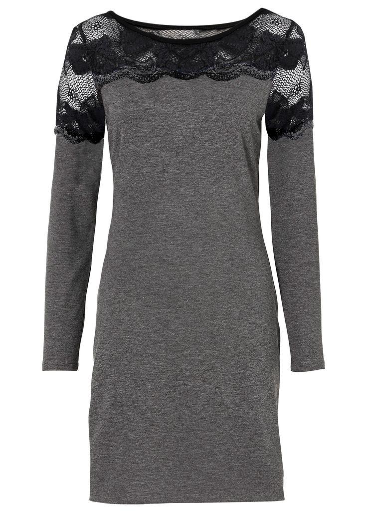 Vestido de malha com renda cinza mesclado encomendar agora na loja on-line bonprix.de  R$ 59,90 a partir de Vestido de malha sensual, com manga longa e ...