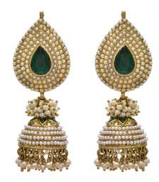 Buy Green gold plated pearl jhumkas jhumka online