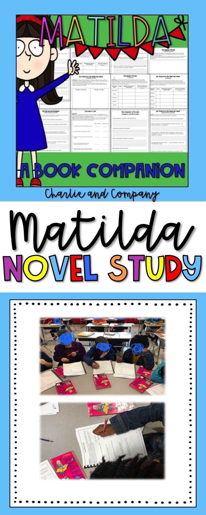 Matilda Novel Study!  This copy and go book companion will push your students to really think about what they are reading! It includes higher level comprehension questions that require students to give evidence from the text to support their responses. Vocabulary words, comprehension questions, and extension activities are included for each chapter. A list of the extension activities are provided below