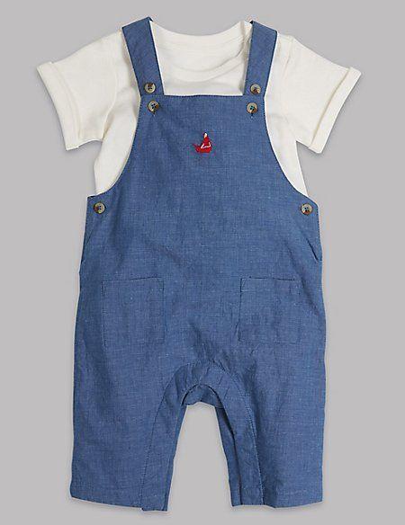 2 Piece Pure Cotton Bodysuit & Dungarees Outfit