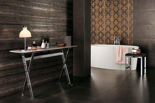 Керамическая плитка с имитацией цемента, прогрунтованного в коричневый цвет
