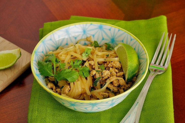 Thai Noodles with Chicken 5 Ingredient Thai Noodle Bowl with Chicken