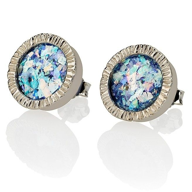 """925 Sterling Silver, Roman GlassSize: 13 x 13 mm / 0.5 x 0.5 """"These one of a kind sterling silver stud earrings feature a stunning cut of ancient Roman gl"""