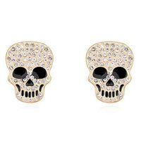 Brand New 2015 Vintage Gold Plated Austrian Crystal Skull Earrings Clip Earrings for Women brincos grandes