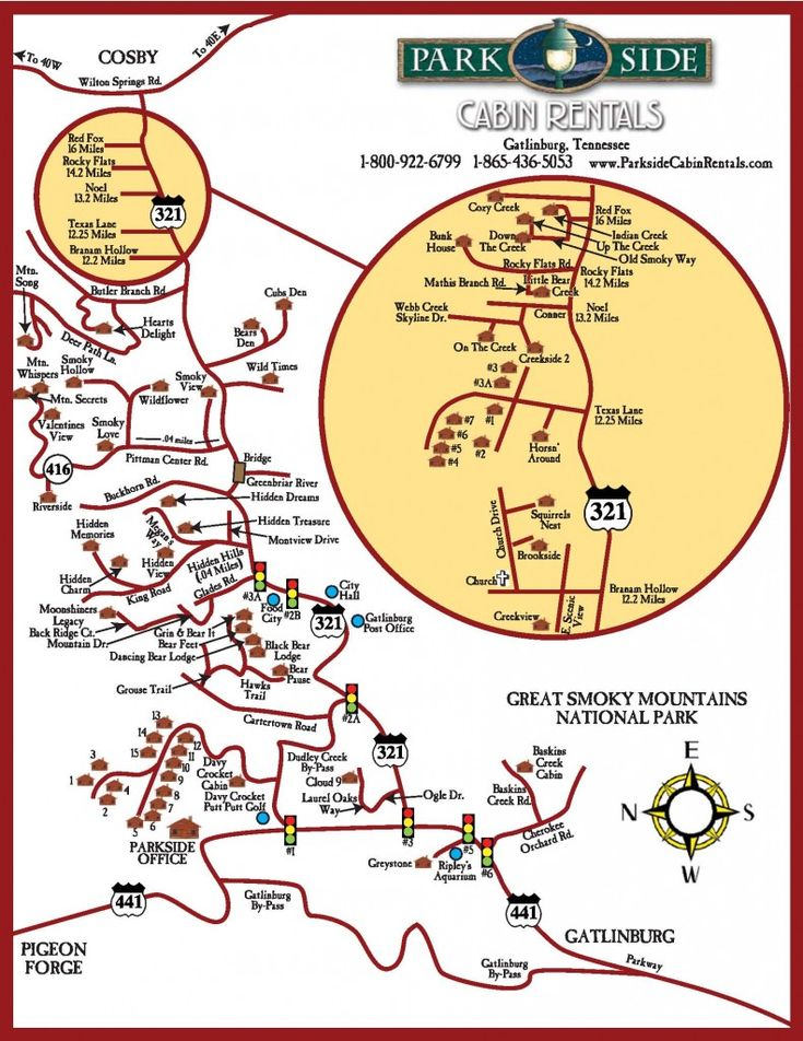 View this map of Gatlinburg and the Smoky Mountains to find directions to all of the cabin rentals offered by Parkside Cabins in Tennessee.