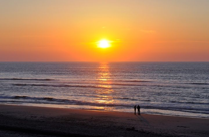 Sunset on the beach at Soulac-sur-mer