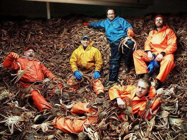 Down in the hatch with a load of Bering Sea Opilio crab