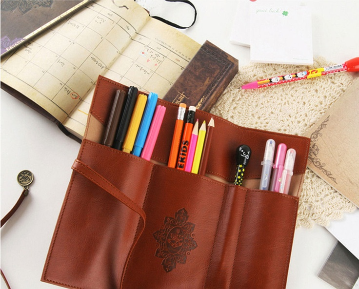 Faux Leather Pen Case Brown - Holds up to 12 Pens [DH0230BR] - $12.95 : Fisher Space Pens and Fisher Space Pen Refills, Australias largest range of Fisher Space Pens and Fisher Space Pen Refills