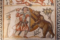 Caccia all'orso, mosaico da Kissufim, Israele / Bear hunting, mosaic from Kissoufim, Israel