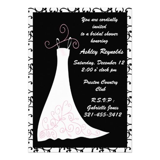 17 best images about black and white bridal shower for Black and white bridal shower invitations