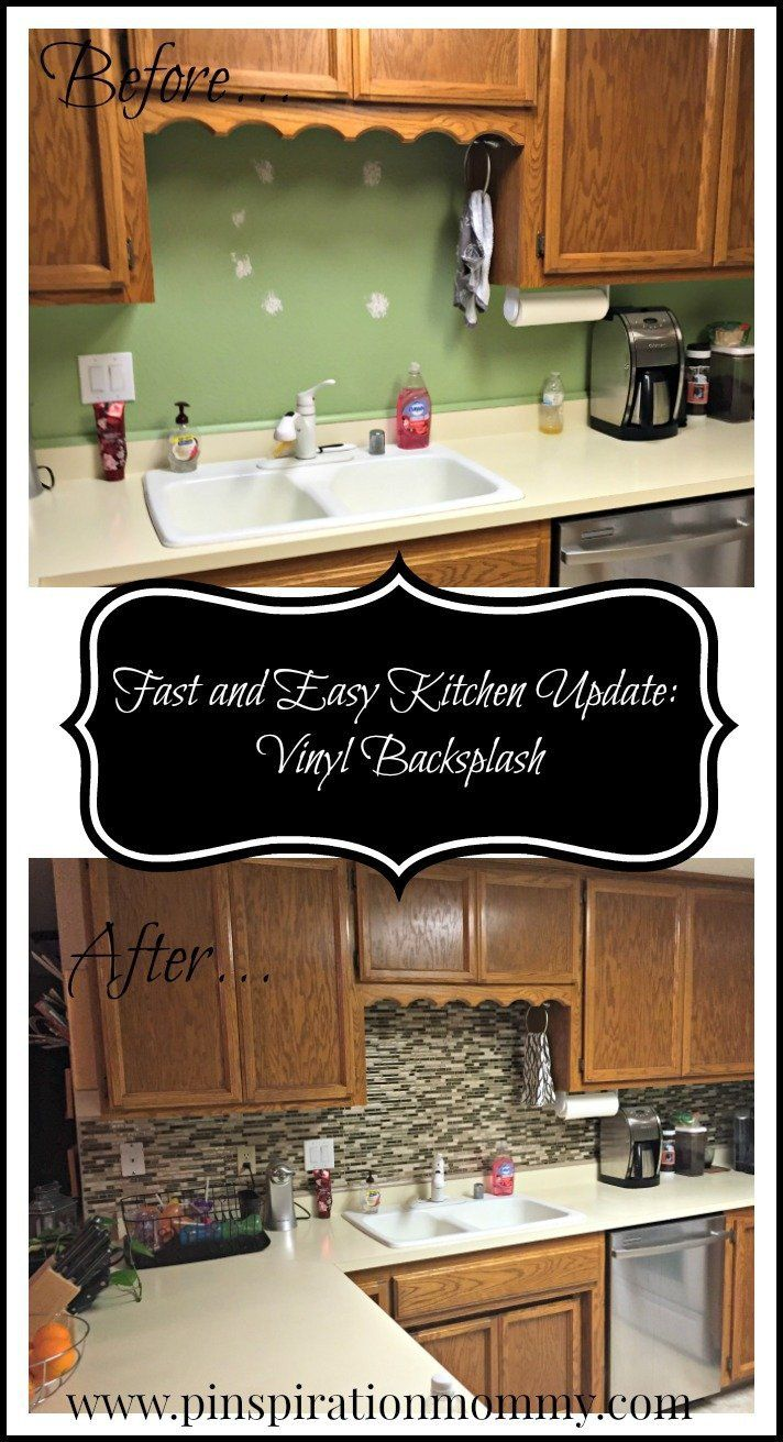 vinyl tile backsplash quick and easy kitchen upgrade diy projects rh pinterest com