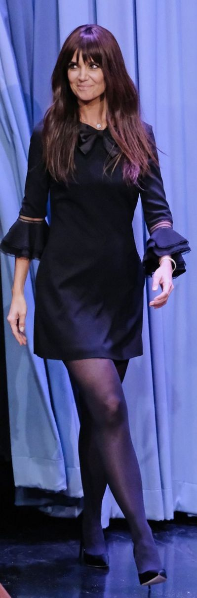 Who made  Katie Holmes' black bow dress?