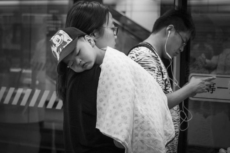 Wake me, when we arrive Mum…People Square, Line 2 Shanghai Metro. Saturday, 4th June, 2016. Photography Wil Graham
