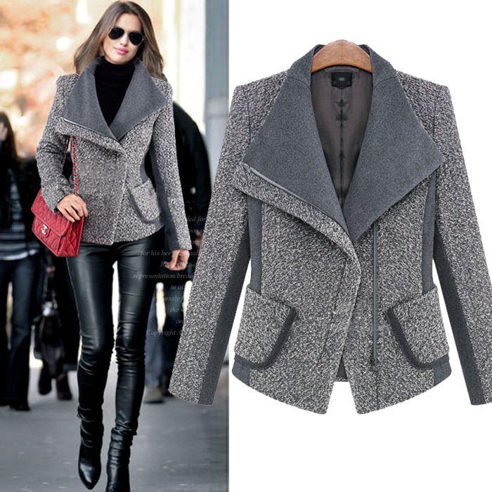 2015 женские зимние куртки и пальто европейский полный рукавом Большой размер шерсть старинные пальто молнии бомбардировщик верхняя одежда купить на AliExpress