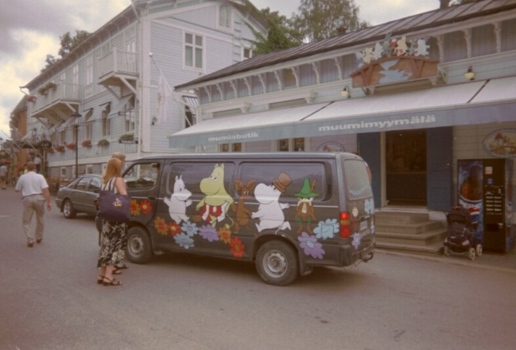 Moomin van outside Moomin Shop, Turku