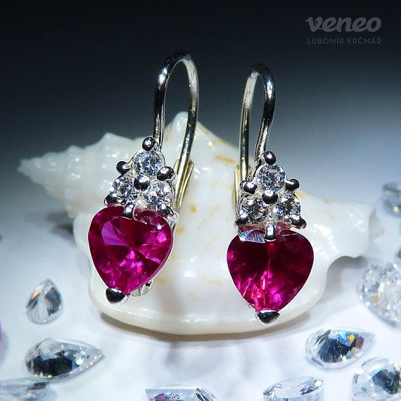 Mira. Silver or Gold Ruby and Zircon Earrings all sizes by Veneo, $46.00