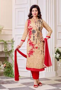 Fabfirki New Dazzling Cream And Red Designer Salwar Suit price