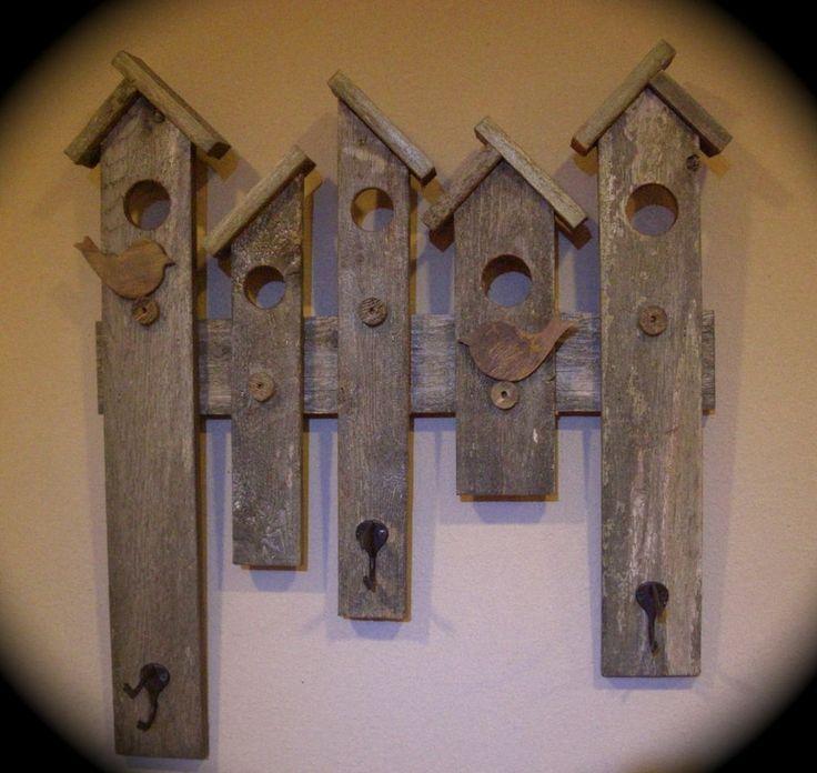 RUSTIC COAT HAT RACK RECLAIMED WOOD BIRD HOUSE DESIGN ENTRY WALL DECOR HANDMADE: