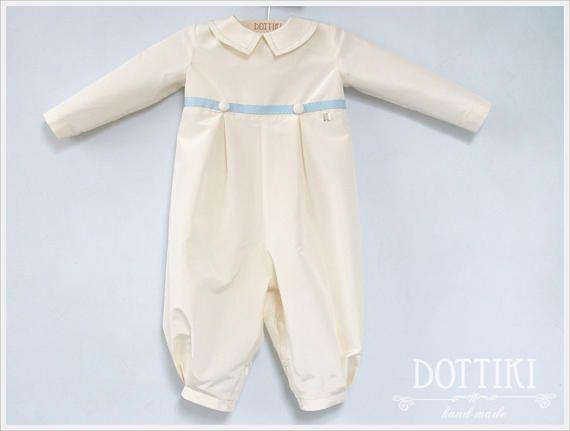 silk christening boy romper made by #DOTTIKI  #christeningoutfit #baptismoutfit  #baptismromper  #christeningromper