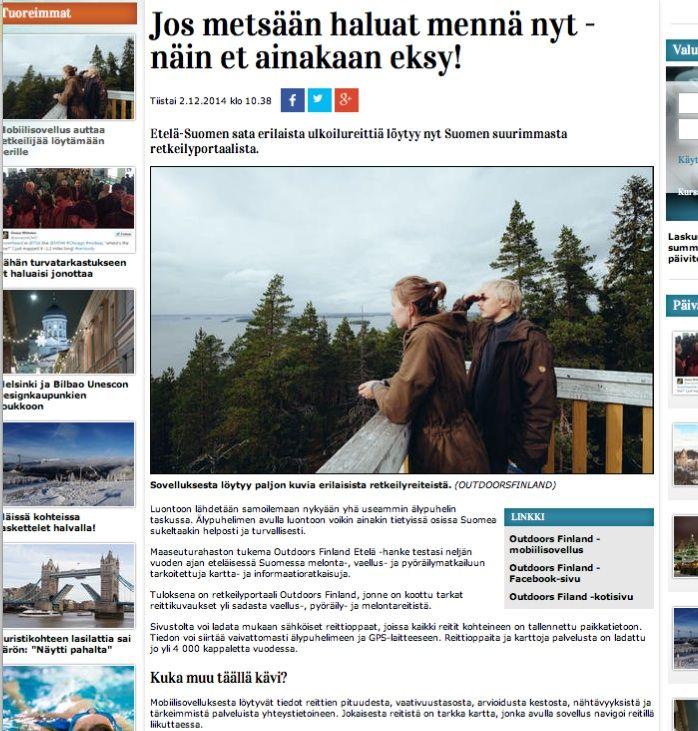 Iltalehti opasti retkeilijöitä metsään. Outdoors Finland -hankkeen tuloksista viestittiin laajasti. Yhteistyössä Pieni Ideapuoti.