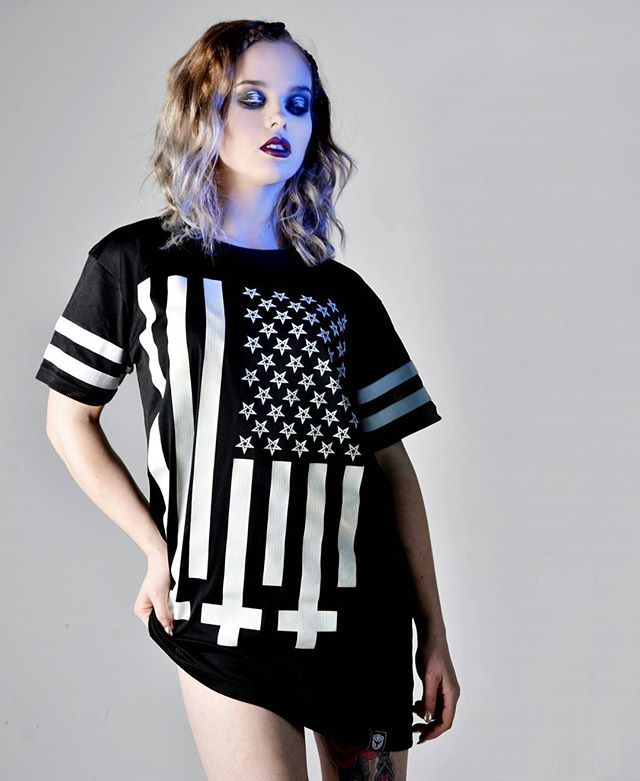 """Americunt"" Striped Mesh Tee Available at www.crmc-clothing.co.uk 