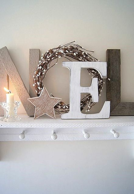 Noel display with wreath... a natural christmas by the style files, via Flickr
