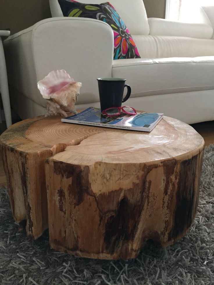 Stump Coffee Table With Metal Casters  Very Large Table, Log Coffee Table,  Tree Part 49