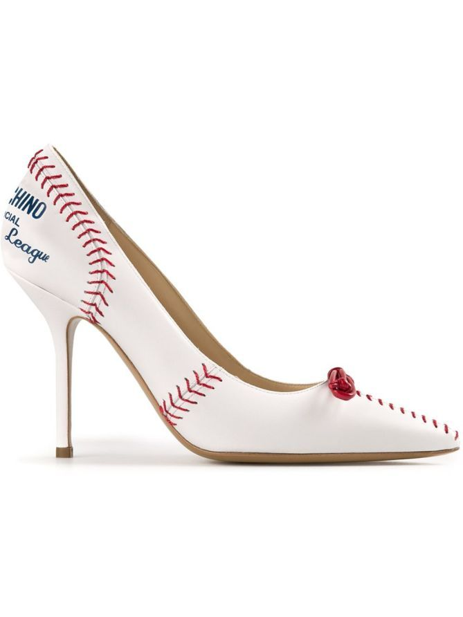 White leather 'Donna' baseball pumps from Moschino featuring a pointed toe, a mid high stiletto heel, a slip-on style, a …