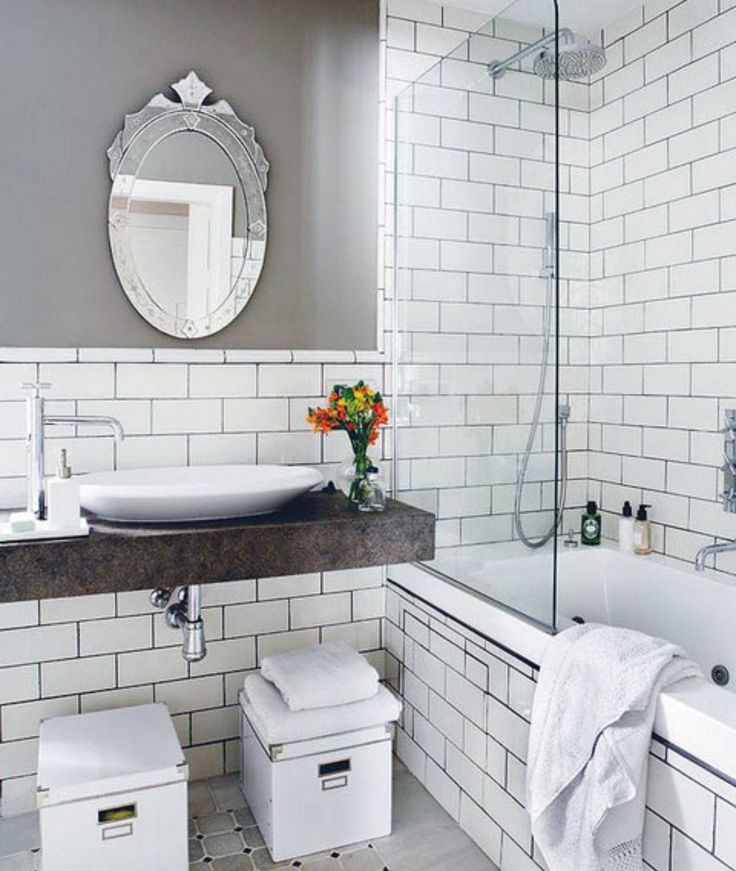 White subway with dark grout get this at Floor & Decor