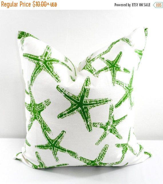 SALE GREEN  Pillow Cover. Star fish Sham Pillow case. Green