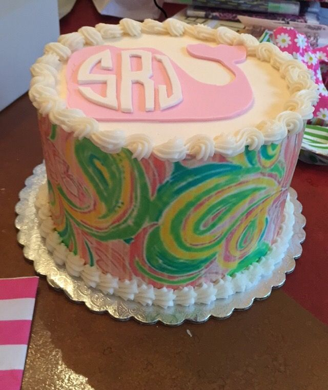 My 12th birthday cake! Lilly Pulitzer pattern with a monogram in a vineyard vines whale.