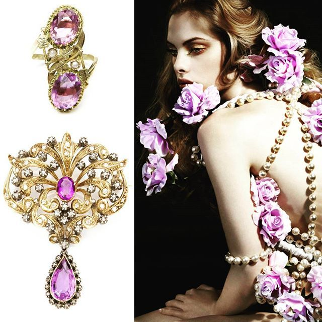 #amethyste #yellogold #diamonds #pearls #ring #brooch #of #desa #auctionhouse #musthave #this #fall #vogue #fashion #jewelry #secession #greatidea #for #christmasgift #for #women