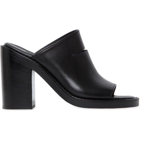 Ann Demeulemeester Women 100mm Cut Out Leather Mule Sandals (£735) ❤ liked on