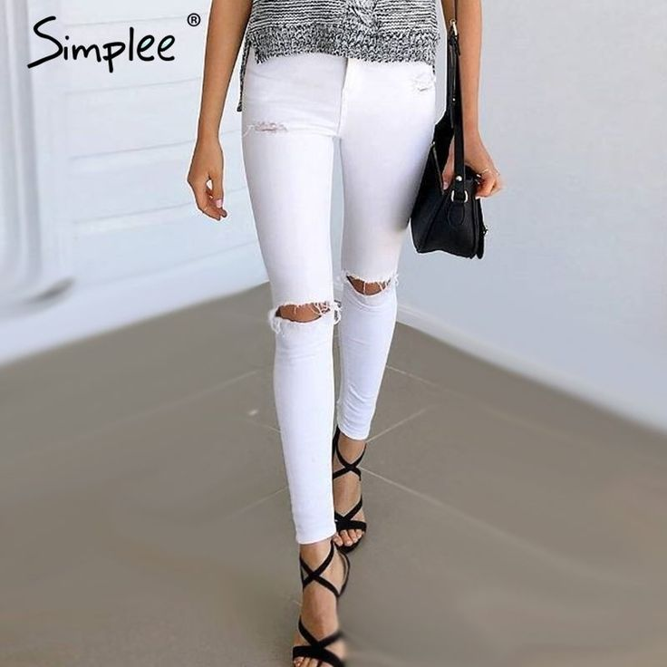 US $19.99 -- Simplee Summer style white hole ripped jeans Women jeggings cool denim high waist pants capris Female skinny black casual jeans aliexpress.com