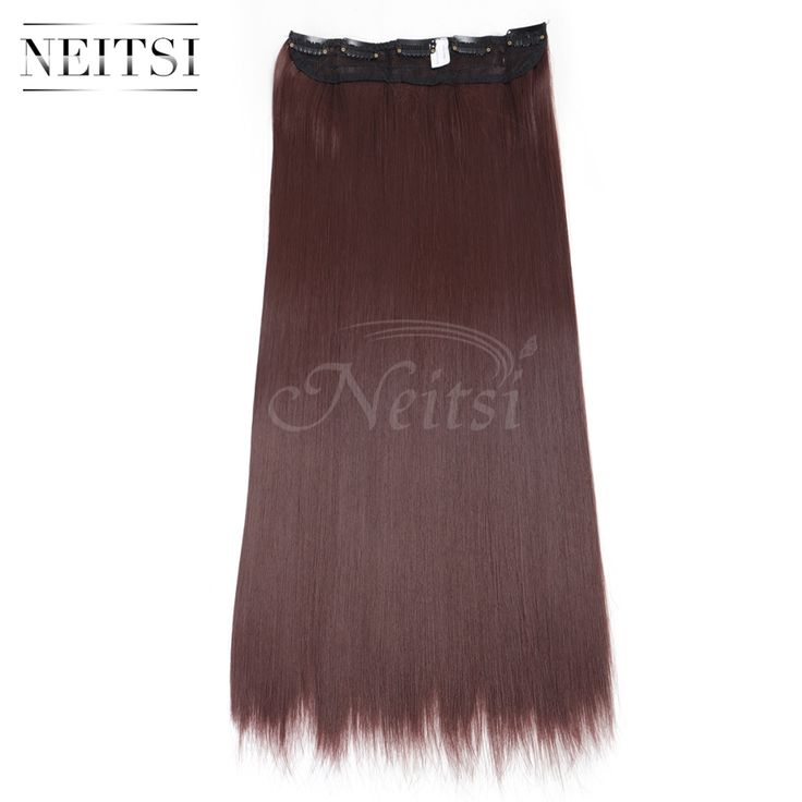 """Neitsi 22"""" 33# 5Clips Synthetic Clip In On Fake Hair Weft Extensions Straight Long Braiding Hairpieces For Women Fast Shipping"""
