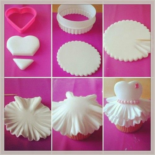 How to make a dress cupcake topper-would be perfect for a little black dress party!