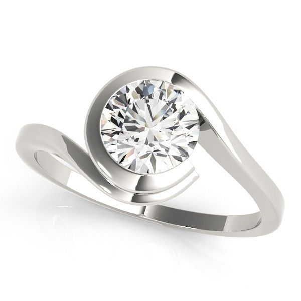 """Bazel"" Solitaire Diamond Ring GORGEOUS SOLITAIRE BYPASS ROUND CUT DIAMOND ENGAGEMENT RING Good Looking solitaire engagement ring with bezel solitaire diamond.  Mounting type: Solitaire Bypass  Band Width: 2.0 mm  Extra Small Diamonds: None"