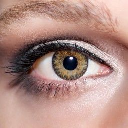 Braune Kontaktlinsen farbige hellbraune Linsen Cappuccino von KwikSibs, 3-farbig ohne Stärken (Plan)